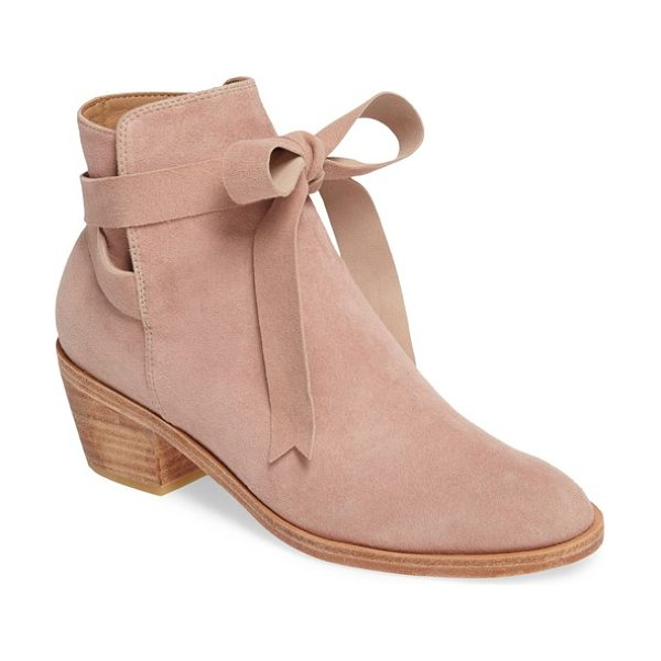 HUMA BLANCO loretana ankle tie bootie in rose suede - Ballet-inspired ankle ties wrap around the split shaft...