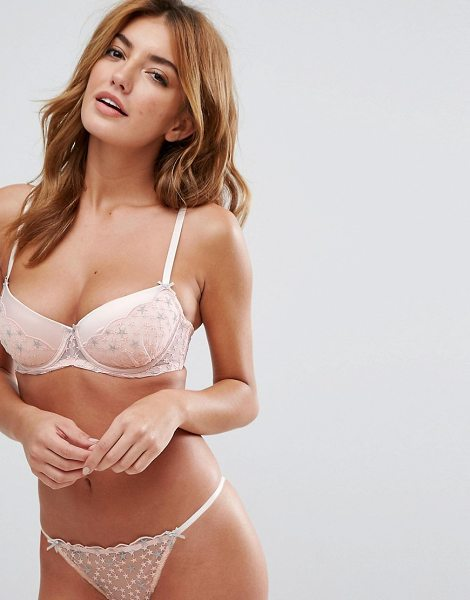 Hunkemoller dazzle & sparkle britney push up bra in scallopshell