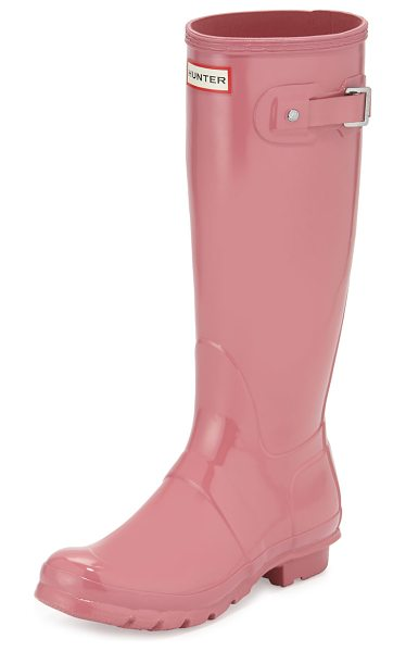 "HUNTER Original Tall Gloss Rain Boot in rhodonite pink - Hunter Boot original high-gloss rubber rain boot. 1""..."