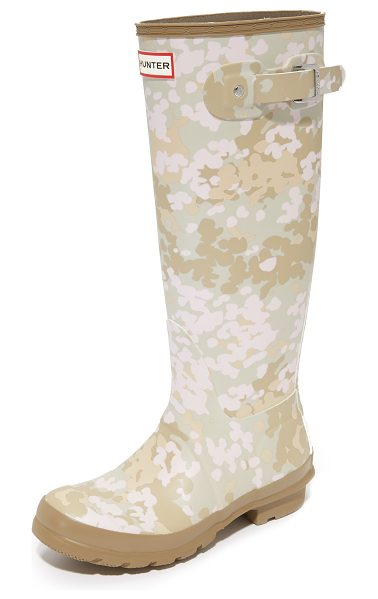 Hunter original tall camo boots in pale sand - The original Hunter Wellies, updated with a matte finish...