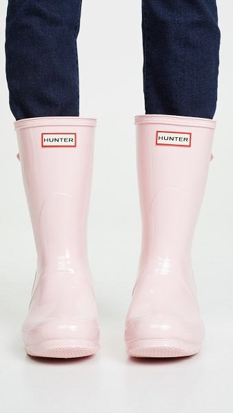 Hunter original short back adjustable boots in candy floss - Fabric: Rubber Glossy finish Rain boots Flat profile Box...