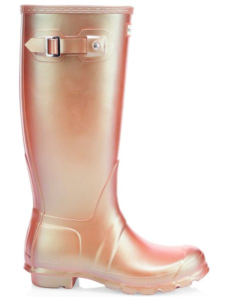 Hunter original tall rain boots in neutral - Tall rubber boots finished with a metallic sheen. Rubber...