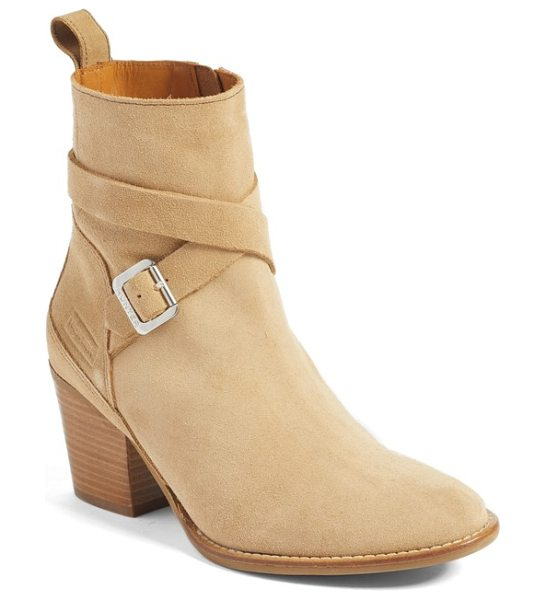 Hunter refined water resistant strappy boot in pale sand suede - A logo-embossed buckle secures the slim straps that wrap...