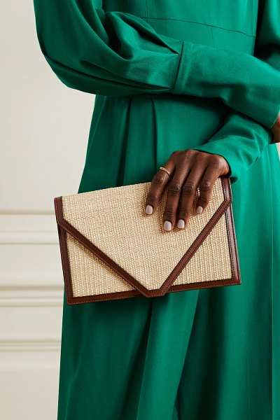 Hunting Season envelope leather-trimmed fique clutch in dark brown