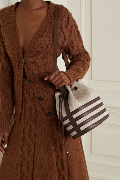 Hunting Season leather-trimmed fique bucket bag in dark brown