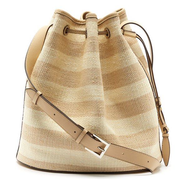 Hunting Season striped fique and leather bucket bag in beige multi