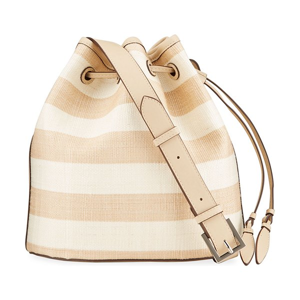 Hunting Season Striped Leather Large Bucket Bag in naturalbeigeoyste