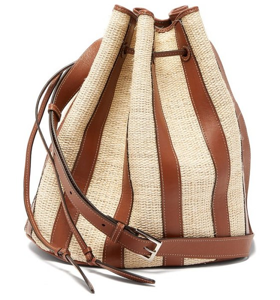 Hunting Season the drawstring large raffia and leather bucket bag in tan