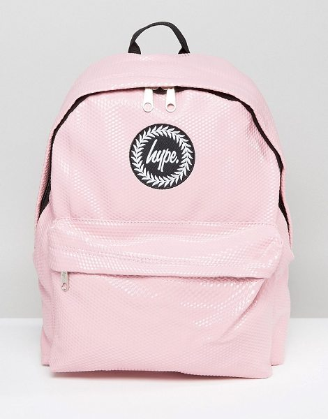 Hype Pink Cubist Backpack in pink - Backpack by Hype, Faux-leather textured outer, Branded...