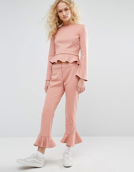 "I Love Friday Cropped Pants With Ruffle Hem Co-Ord in pink - """"Pants by I Love Friday, Smooth stretch fabric,..."