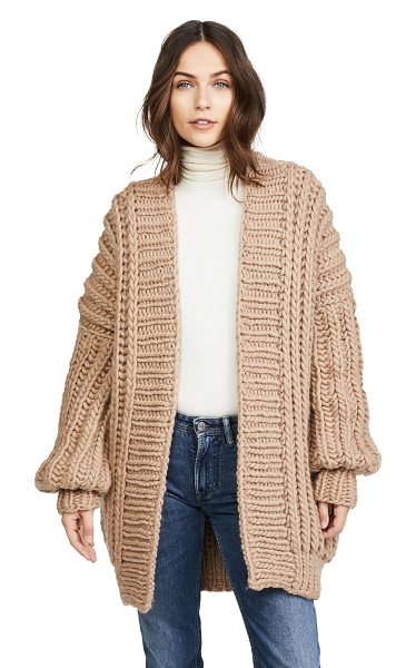 I Love Mr Mittens fishermans cardigan in taupe - A chunky ribbed knit brings a cozy feel to this...