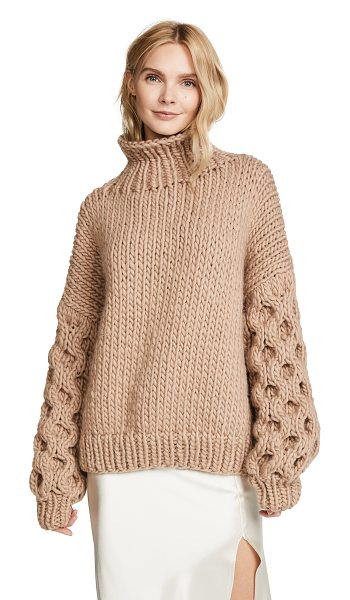 I Love Mr Mittens honey high neck sweater in taupe - An oversized I Love Mr Mittens sweater with a fold-over...