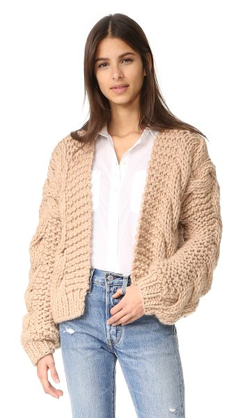 I Love Mr Mittens the bomber in sand - A cropped I Love Mr Mittens cardigan, composed of chunky...