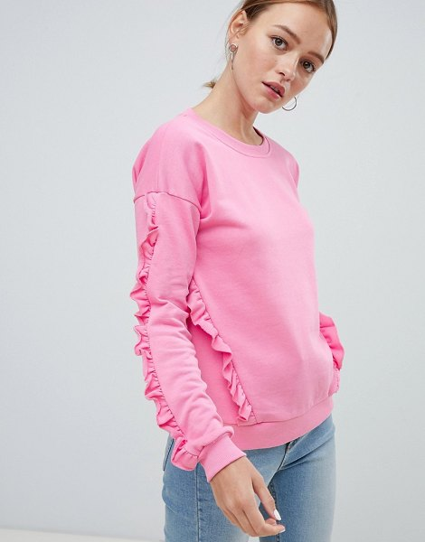 Ichi ruffle sleeve sweater in aurorapink