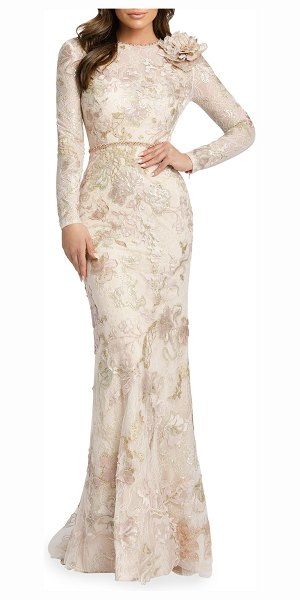 IEENA FOR MAC DUGGAL Long-Sleeve Sequined Lace Gown w/ Flower in blush