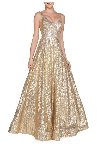 IEENA FOR MAC DUGGAL Sequined V-Neck Sleeveless Ball Gown in gold sequin