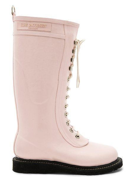 Ilse Jacobsen Long Rubber Boot in peach whip - Rubber upper with oil-resistant rubber sole. Lace-up...