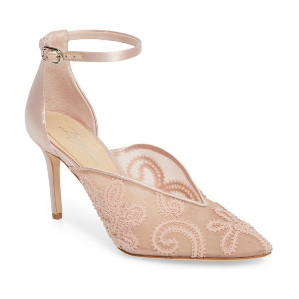 Imagine by Vince Camuto ankle strap pump in dusty rose fabric - Swirling embroidery dazzles the pointy toe of an elegant...