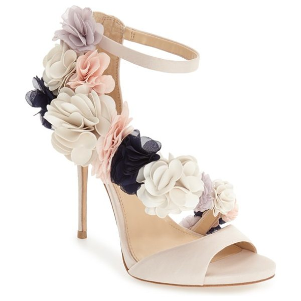 Imagine by Vince Camuto 'daphne' floral ankle strap sandal in vanilla/ multi satin - A garden of exquisite flowers blooms from toe to heel...