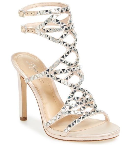 Imagine by Vince Camuto galvin sandal in light peach satin - Triangular crystals sparkle along the straps of a...