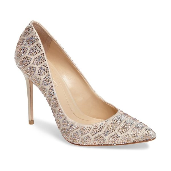 Imagine by Vince Camuto imagine vince camuto 'olivier' pointy toe pump in light sand - Geometric arrays of faceted crystals sparkle and shine...