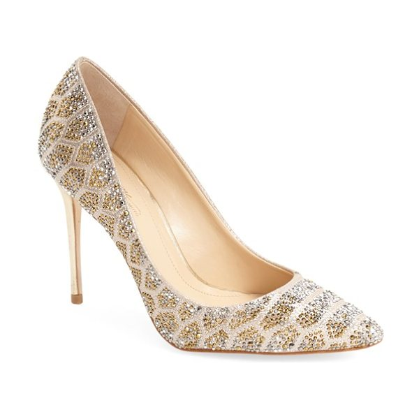 Imagine by Vince Camuto Imagine vince camuto olivier pointy toe pump in soft gold - Geometric arrays of faceted crystals sparkle and shine...