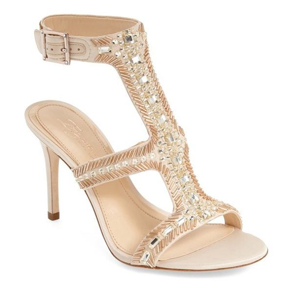 Imagine by Vince Camuto imagine vince camuto 'price' beaded t-strap sandal in light sand - Crystal and bead embellishments highlight a satin...