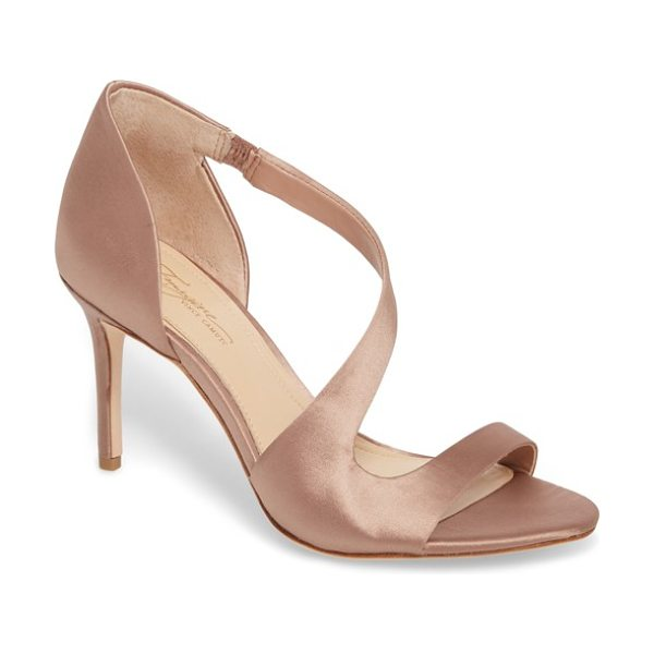 Imagine by Vince Camuto imagine vince camuto purch sandal in warm taupe satin - A shimmering lustrous strap arcs diagonally from the...