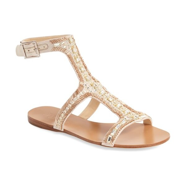 IMAGINE BY VINCE CAMUTO imagine vince camuto 'reid' embellished t-strap flat sandal in lt sand satin - Sparkling crystal and bead embellishments catch the...