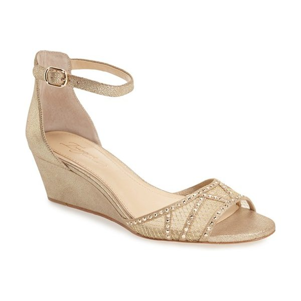 Imagine by Vince Camuto 'joan' studded wedge sandal in soft gold suede - A stunning toe strap crafted from trellis-print mesh and...
