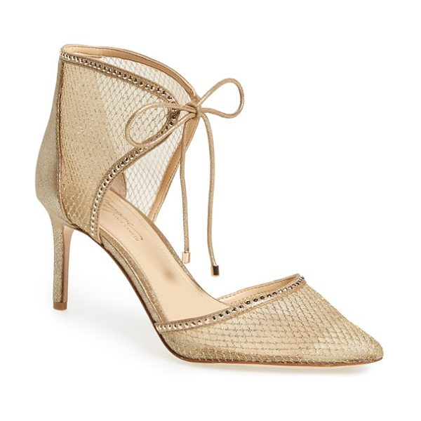 Imagine by Vince Camuto 'mark' mesh panel d'orsay pump in soft gold suede - Tiny gleaming studs outline the d'Orsay pointy toe and...
