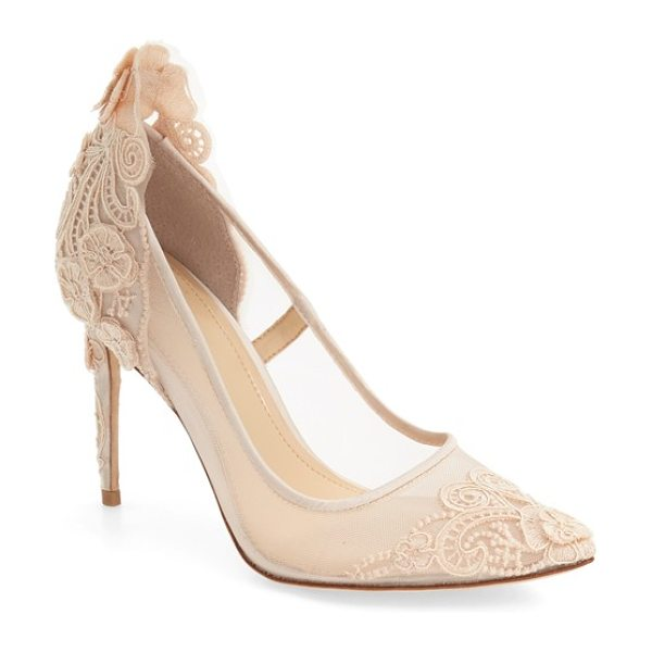 Imagine by Vince Camuto 'ophelia' pointy toe pump in vanilla satin - Ornate lace detailing and three-dimensional floral...