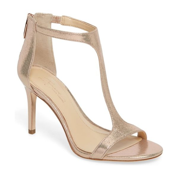 Imagine by Vince Camuto 'phoebe' embellished t-strap sandal in rose gold satin