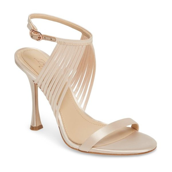 IMAGINE BY VINCE CAMUTO raim sandal in natural satin - A soaring stiletto heel lofts a strappy sandal upgraded...