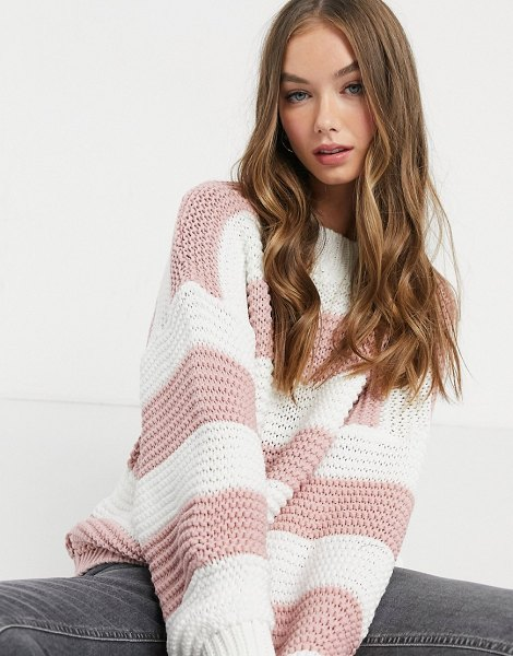 In The Style x billie faiers oversized contrast knitted sweater in pink stripe in pink