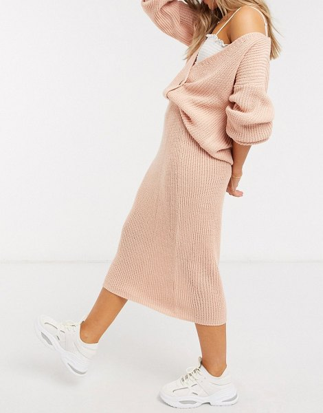 In The Style x lorna luxe copenhagen ribbed midi skirt in blush-pink in pink