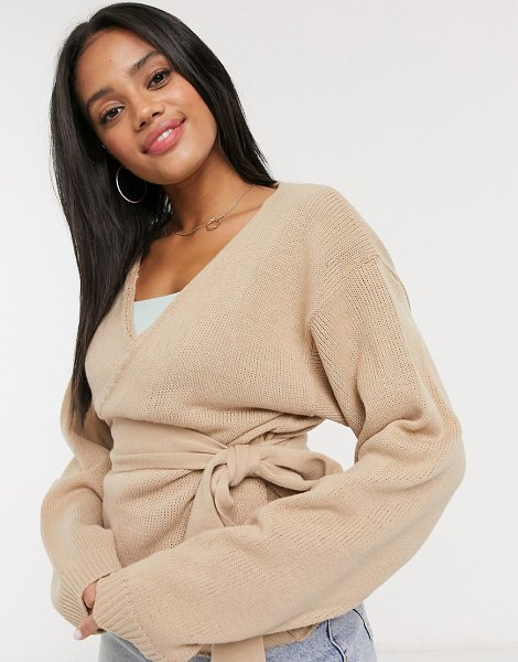 In The Style x lorna luxe knitted wrap detail top in stone-beige in beige