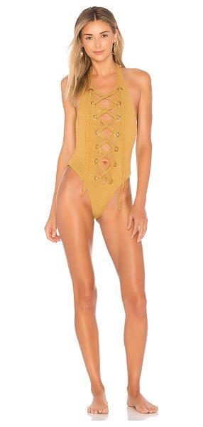 IN YOUR ARMS Lucid One Piece - 70% poly 30% spandex. Hand wash cold. Lace-up front....