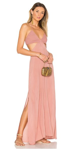 Indah Blaze Cutaway Maxi Dress in rose - 100% rayon. Hand wash cold. Unlined. Halter strap ties...