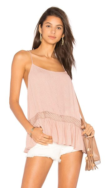 Indah Cosette Cami in rose - 100% viscose. Hand wash cold. Crochet lace trim. Ruffle...
