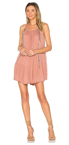 Indah Found Mini Dress in rose - 100% rayon. Hand wash cold. Unlined. Elastic neckline....