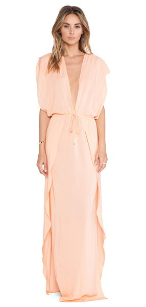 Indah Jade maxi dress in peach - 100% rayon. Hand wash cold. Unlined. High side slits....