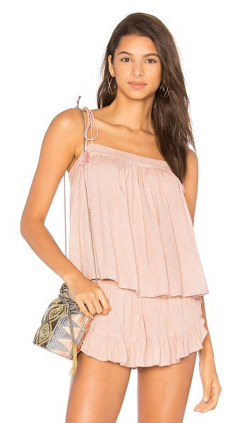 Indah Raven Cami in rose - 100% viscose. Hand wash cold. Shoulder tie closures with...