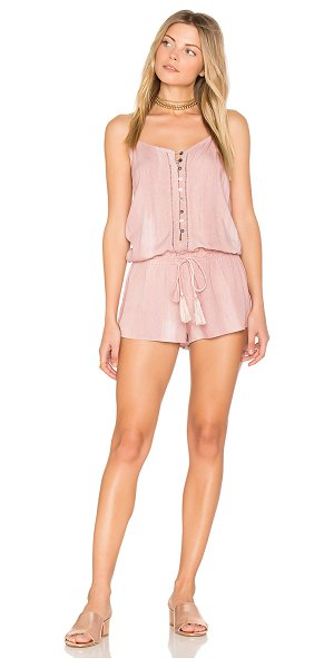 "Indah Saxon Romper in blush - ""100% rayon. Hand wash cold. Adjustable shoulder straps...."