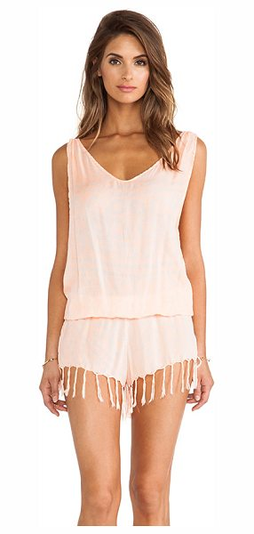 Indah X revolve milos romper in peach - 100% rayon. Hand wash cold. Elasticized waist. Fringed...