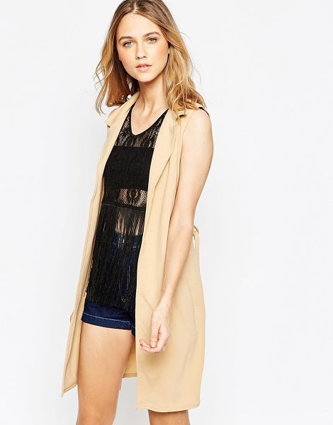 Influence Belted sleeveless jacket in camel - Jacket by Influence Lightly textured woven fabric Slim...