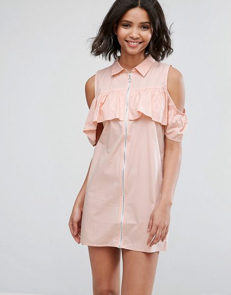 "Influence cold shoulder frill dress with zip detail in pink - """"Casual dress by Influence, Breathable cotton, Spread..."