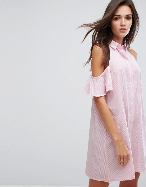 "Influence Cold Shoulder Shirt Dress in pink - """"Casual dress by Influence, Woven cotton, Point collar,..."