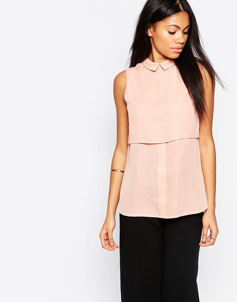Influence Double layered shirt in crepe in pink - Top by Influence, Pure cotton, Spread collar, Double...