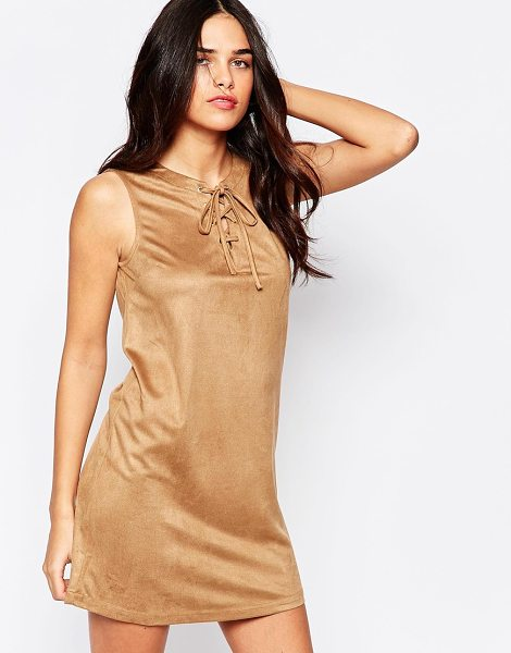 Influence Lace up front suede shift dress in camel - Casual dress by Influence Super soft-touch faux-suede...